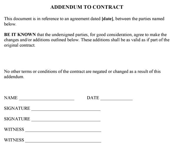 Addendum To Contract Sample - Addendum template word