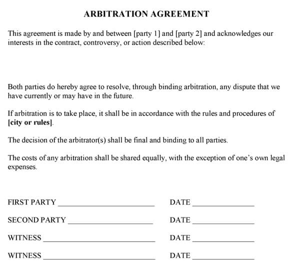 Arbitration Agreement Sample