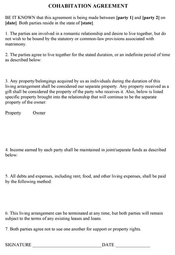 Cohabitation Agreement Template – Sample Cohabitation Agreement Template