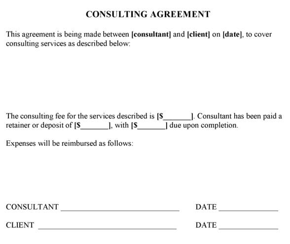 Consulting Contract Template. Sample Consulting Agreement Sample