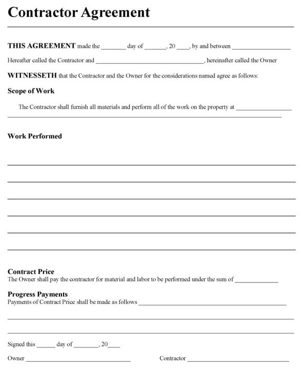 Sample Contractor Agreement Template Word