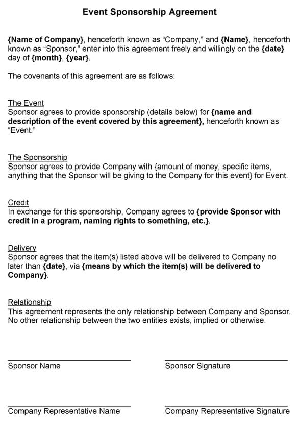 Exceptional Simple Sponsorship Agreement Template And Event Sponsorship Agreement Template