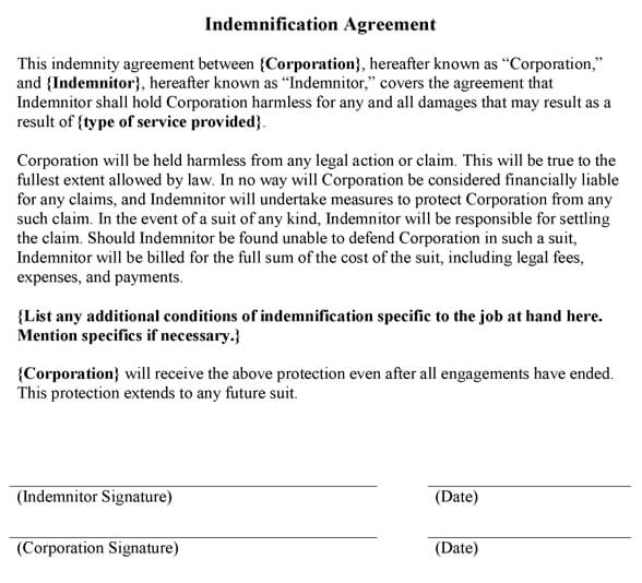 Printable Contract Templates  Indemnity Agreement Template