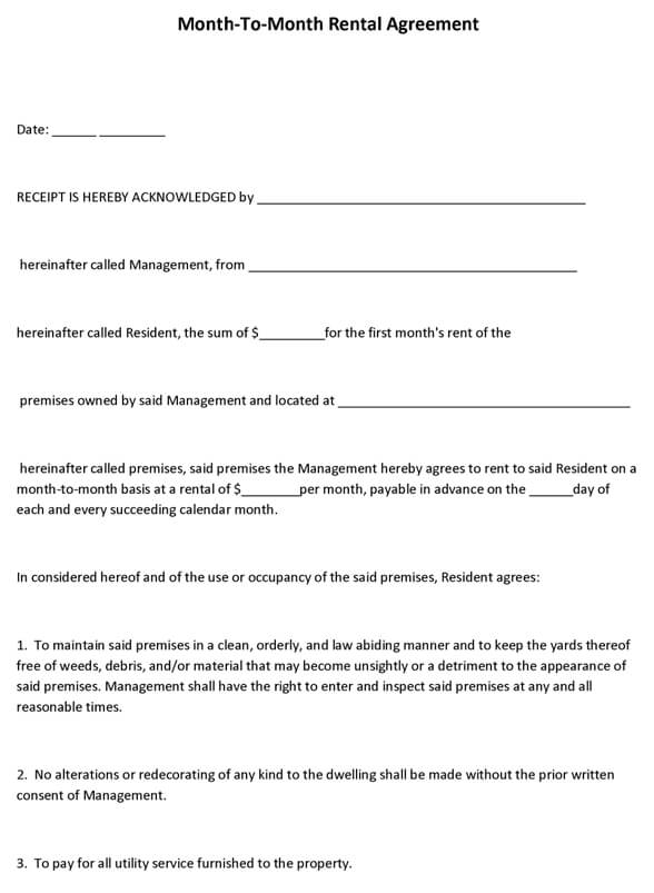 Month-To-Month Rental Agreement Form