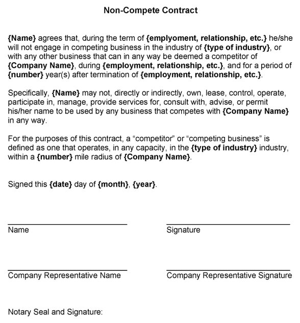 Standard non compete contract template standard non compete agreement platinumwayz