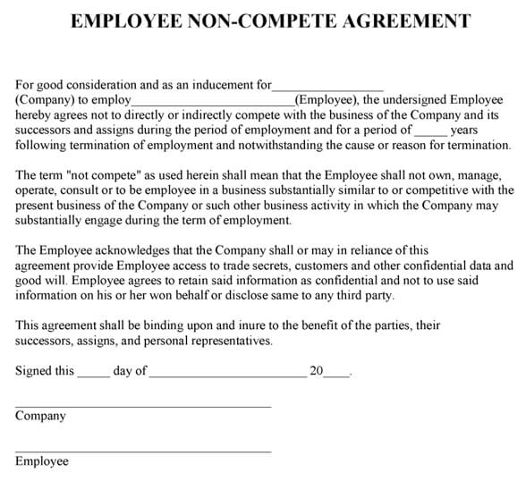 Employee NonCompete Agreement Template