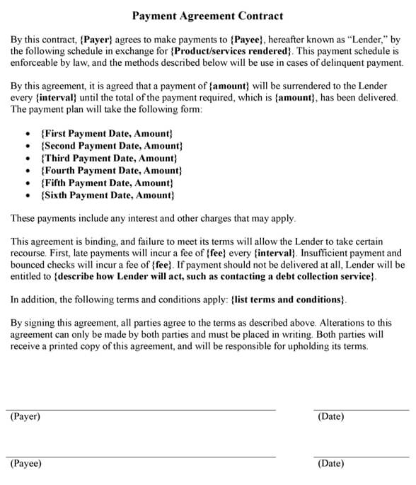 Sample Payment Agreement Contract Template