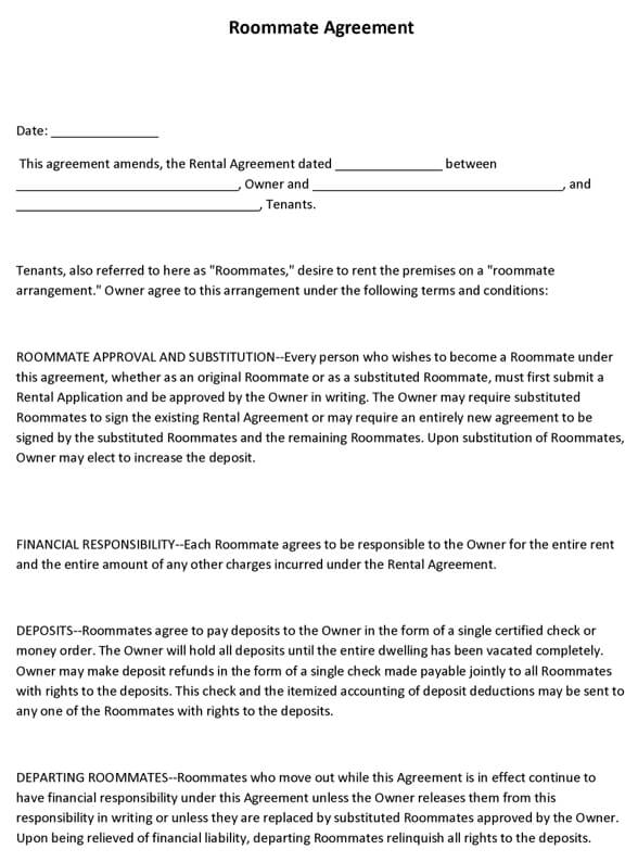 Roommate Agreement Form. Roommate Contract Printable Sample
