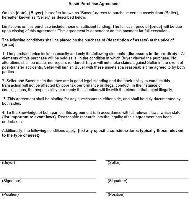 Asset Purchase Agreement Template – Asset Purchase Agreements