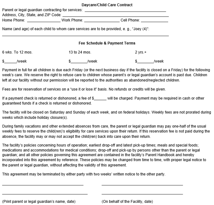 photo relating to Printable Daycare Contracts titled Little one Treatment Agreement Template