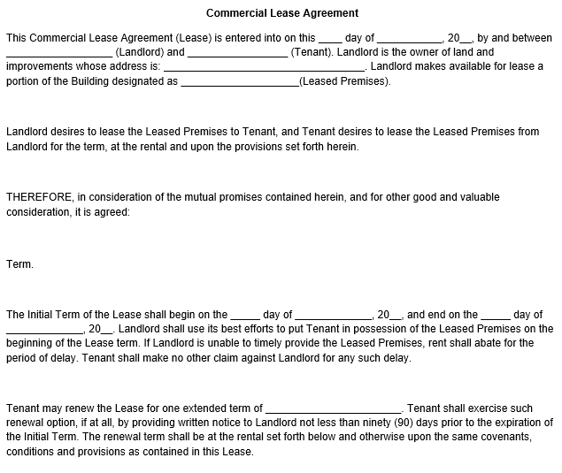 ready to use commercial lease agreement