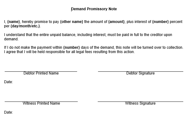 Superior Demand Promissory Notes