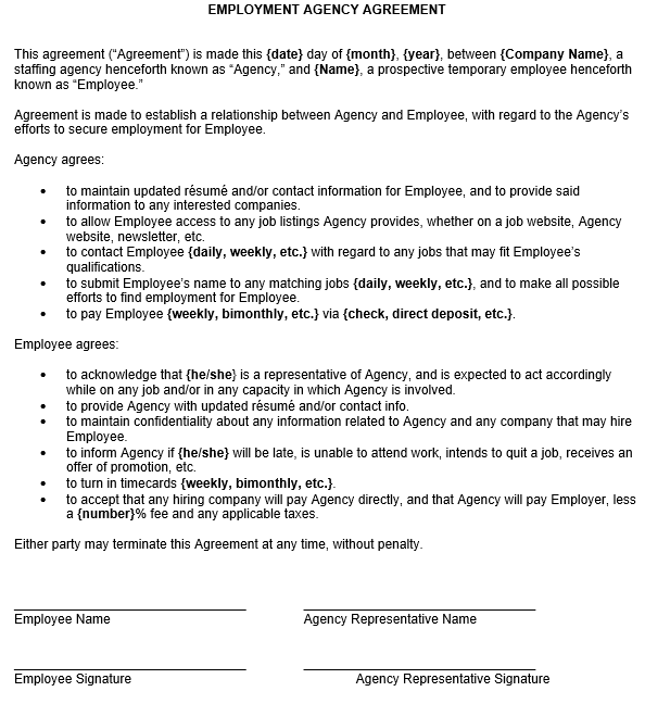 Employment agency agreement sample for Temporary employment contract template free