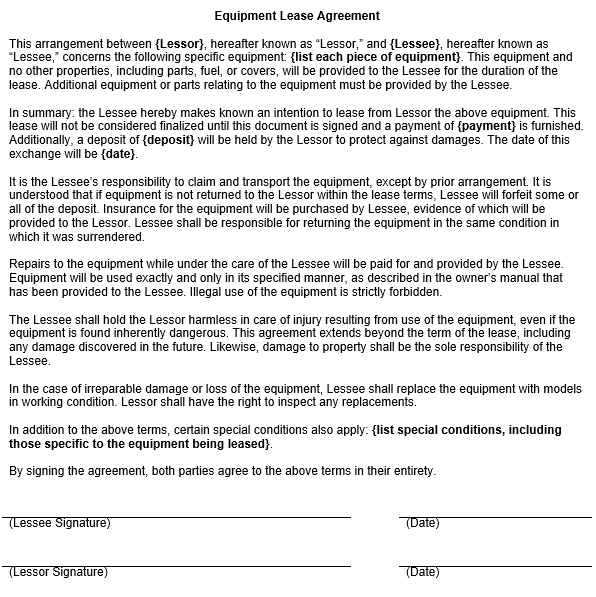 Equipment Lease Agreement Template – Equipment Lease Form Template