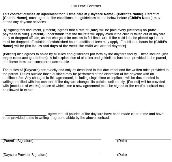 Full Time Child Care Contract Template