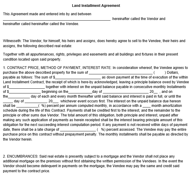 Land Installment Agreement Template