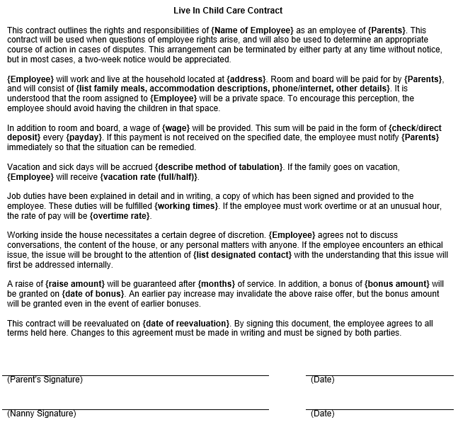 Live In Child Care Contract Form Template