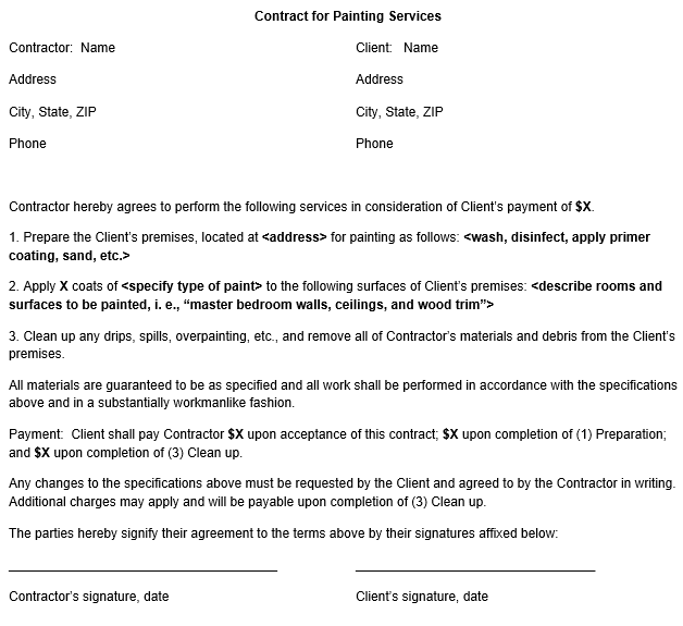 Painting Contract Form Template
