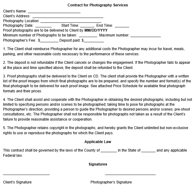 Copyright sample photography contract for Copyright contract template free