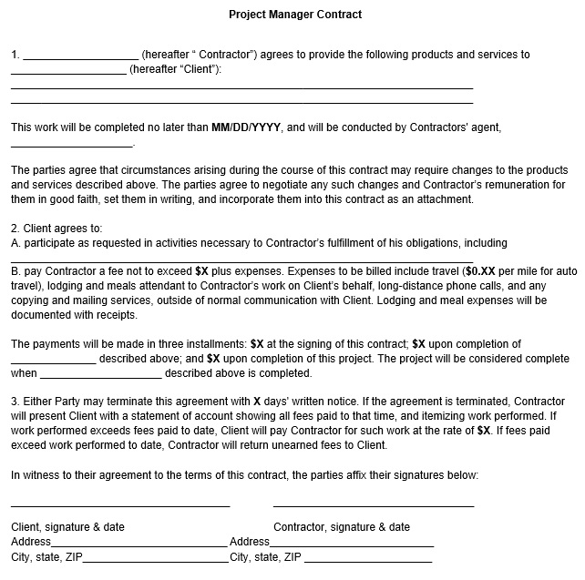 Superior Sample Project Manager Contract Form Intended For Project Contract Template