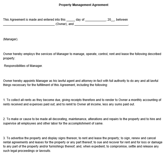 property manager contract samples - Boat.jeremyeaton.co