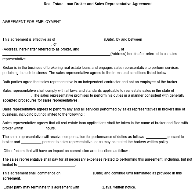 Free Real Estate Loan Broker and Sales Representative Agreement