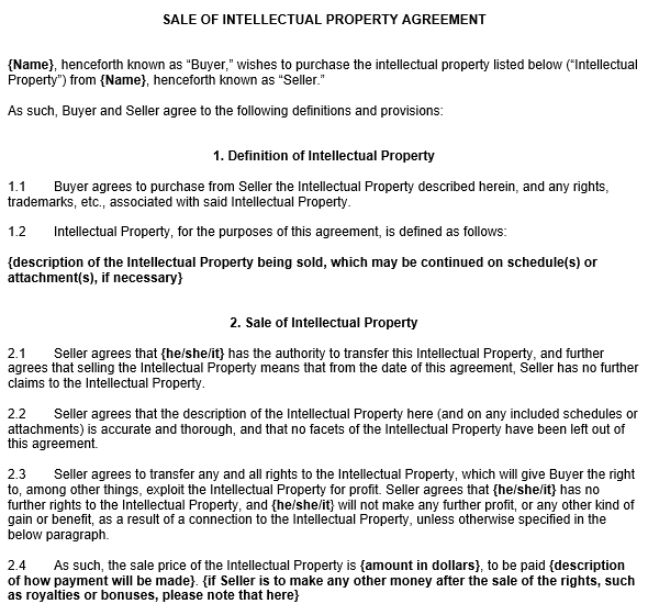 Intellectual Property Contract Template