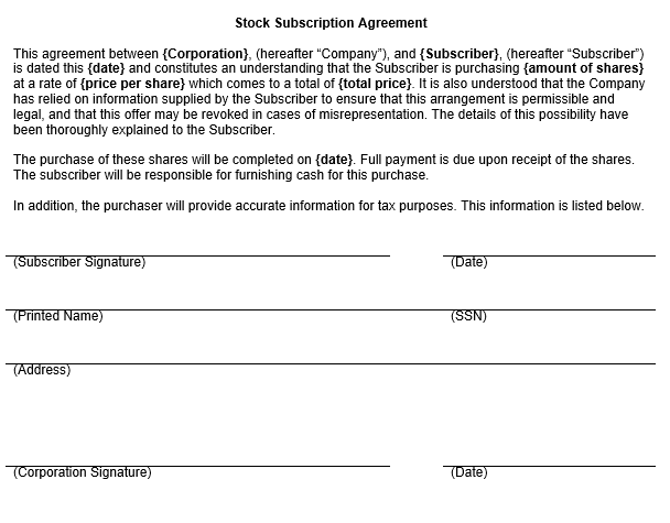 Stock Subscription Agreement Form Template