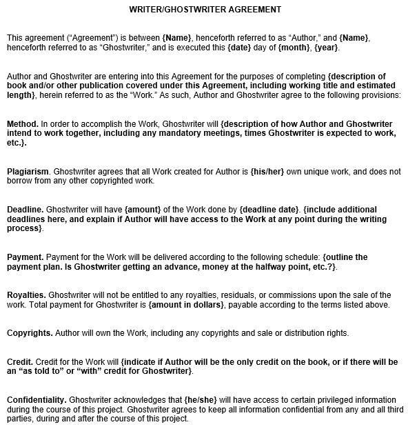 writer ghostwriter agreement template