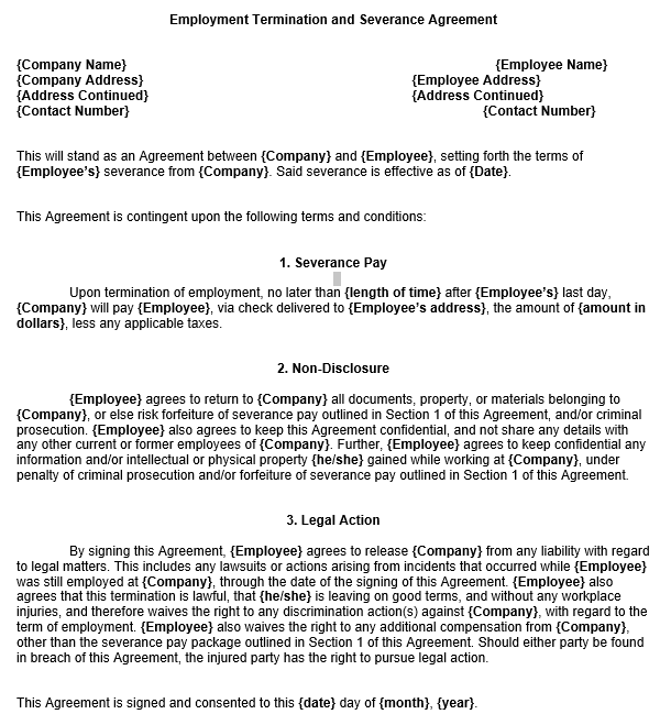 Employment Severance Agreement Template